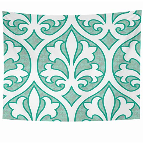 Ahawoso Tapestry 60 x 50 Inches 15Th Ogee Century Inspired Pattern Ages Damask Diaper Fleur Lis Design Wall Hanging Home Decor Tapestries for Living Room Bedroom ()