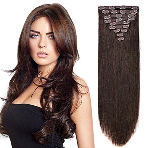 "20"" Human Hair Extensions Clip on Real Hair Clip in Extensions for Medium Hair Full Head Dark Brown #2 10pieces 160grams/5.6oz"