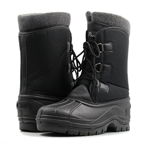 Parrazo Alpine Mens Winter BootsLace Up Insulated Water Resistant Duck Snow Boots Black n5Cxbn