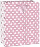 "Large Light Pink Polka Dot Gift Bag, 13"" x 10.5"""