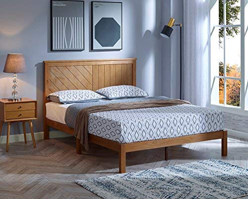 MUSEHOMEINC Solid Wood Platform Bed Deluxe Unique Style Design with Headboard, Natural Finish, King