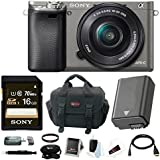 Sony Alpha a6000 Mirrorless Camera w/ 16-50mm Lens Accessory Bundle - Graphite