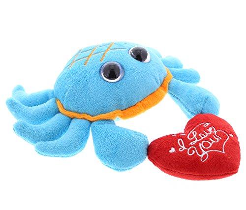 DolliBu Blue Crab Big Eye I Love You Valentines Stuffed Animal - Heart Message - 6 inch - Super Soft Plush - Item #K5263-5999 ()