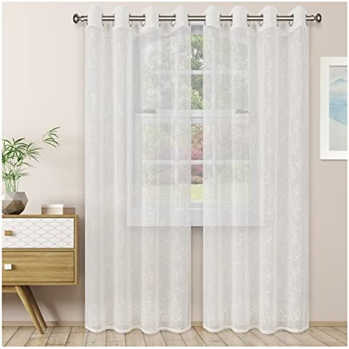 Superior Quality Lightweight Embroidered Scroll Sheer Stainless Grommets Window Treatment Curtain Panel Set of 2 52 x 108 – Ivory