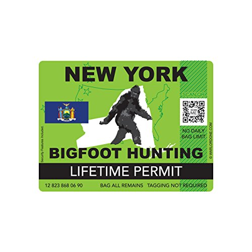 New York Bigfoot Hunting Permit Sticker Die Cut Decal Sasquatch Lifetime FA Vinyl