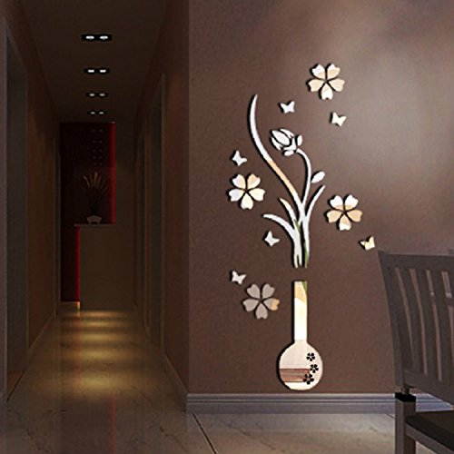 Alrens(TM)Luxury Vase Plum Flowers Pattern 3D Mirror Wall Stickers Living Room Entrance Bedroom TV Wall Decals Marriage Room Decorated Dining Room Décor Home Decoration Removable by Alrens