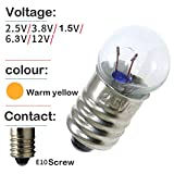 TOTOT 10pcs E10 Mini Light Bulbs 2.5V 0.3A Physical Electrical Experiment Screw Base Indicator Light Incandescent Bulb Old-Fashioned Flashlight Lamp