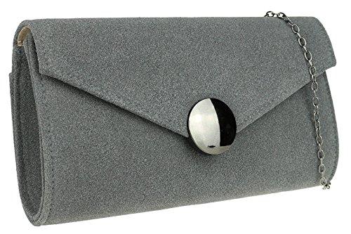 Grey Closure HandBags Bag Girly Clutch Button XPEqwq