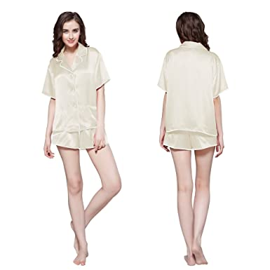 Men's Pajama Sets Men's Sleep & Lounge Provided Silk Women Nightwear Long Sleeve Blouse And Short Shorts 2 Pieces Sleepwear Female Summer Sexy Pajama Set