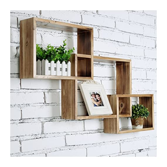 MyGift Wall-Mounted Torched Natural Brown Wood Interlocking Shadow Boxes, Floating Box Display Shelves, Set of 3 - Set of 3 interlocking wooden wall-mounted shadow boxes. A country rustic style unique wall mounted wood shelf in a light torched wood finish. The geometric shelf design is composed of 3 overlying rectangular boxes. - wall-shelves, living-room-furniture, living-room - 51XrWtvHRIL. SS570  -
