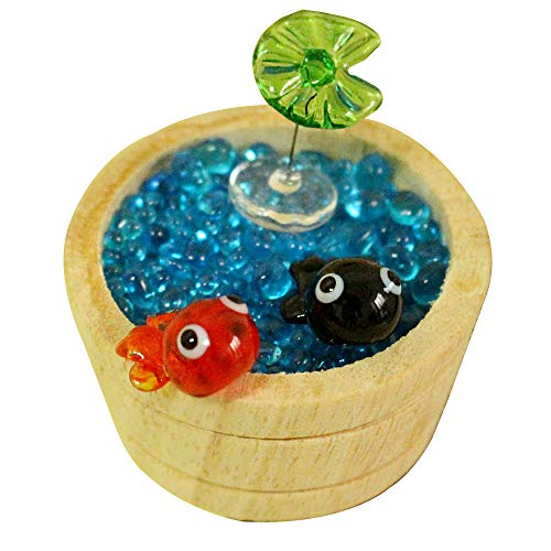 - KAZALEE MALL Fish Miniature Glass Orange Black Couple Goldfish Figure Handmade Fish Tank Decoration Crystal Blue Sand and Wooden Barrel One Set