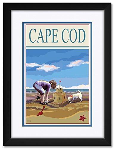 Cape Cod Sand Castle Framed & Matted Art Print by Joanne Kollman. Print Size: 12