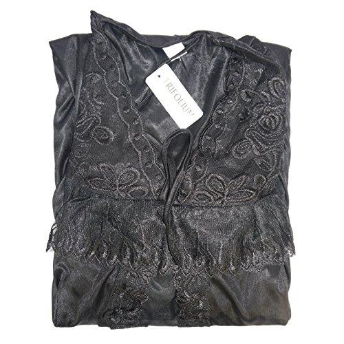 Ladies Womens Nightie Nightdress Robe 3pcs pijama Set 2062 negro