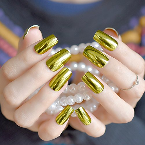 Oval Metal Mirror False Nails Champagne Pink Fake Nail Short Size Acrylic Nail Tips DIY Nail Salon Products 24Pcs Z791 -