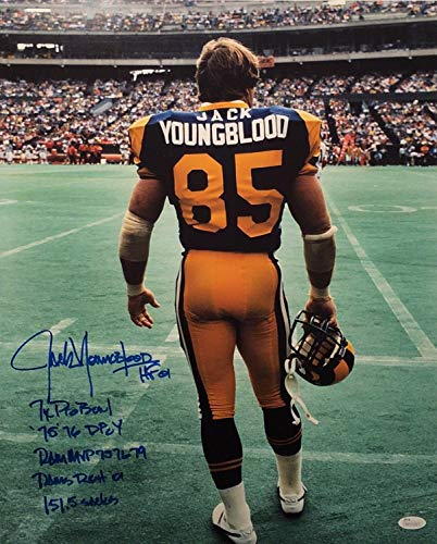 ff36c51e423 Jack Youngblood Autographed Signed Football 16x20 Photo Hof 01 Pro  Bowl Dpoy Roh
