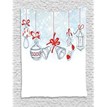 Ambesonne Christmas Decorations Collection, Retro Style Famous Xmas Socks for Toys and Candy Cane Bells and Snowflake Graphic, Bedroom Living Room Dorm Wall Hanging Tapestry, White Red