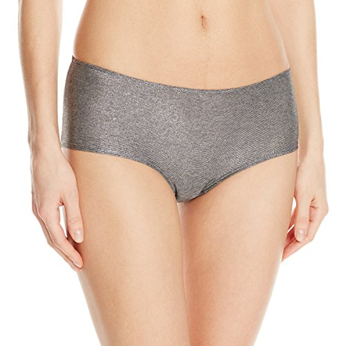 (Only Hearts Women's Metallic Jersey Ruched Back Hipster Pantie, Gunmetal, Large)