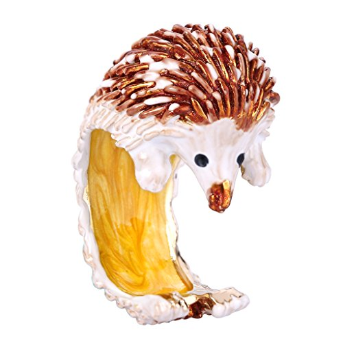 EVER FAITH Gold-Tone Enamel Adorable Little Hedgehog Party Cuff Ring Brown Size 8