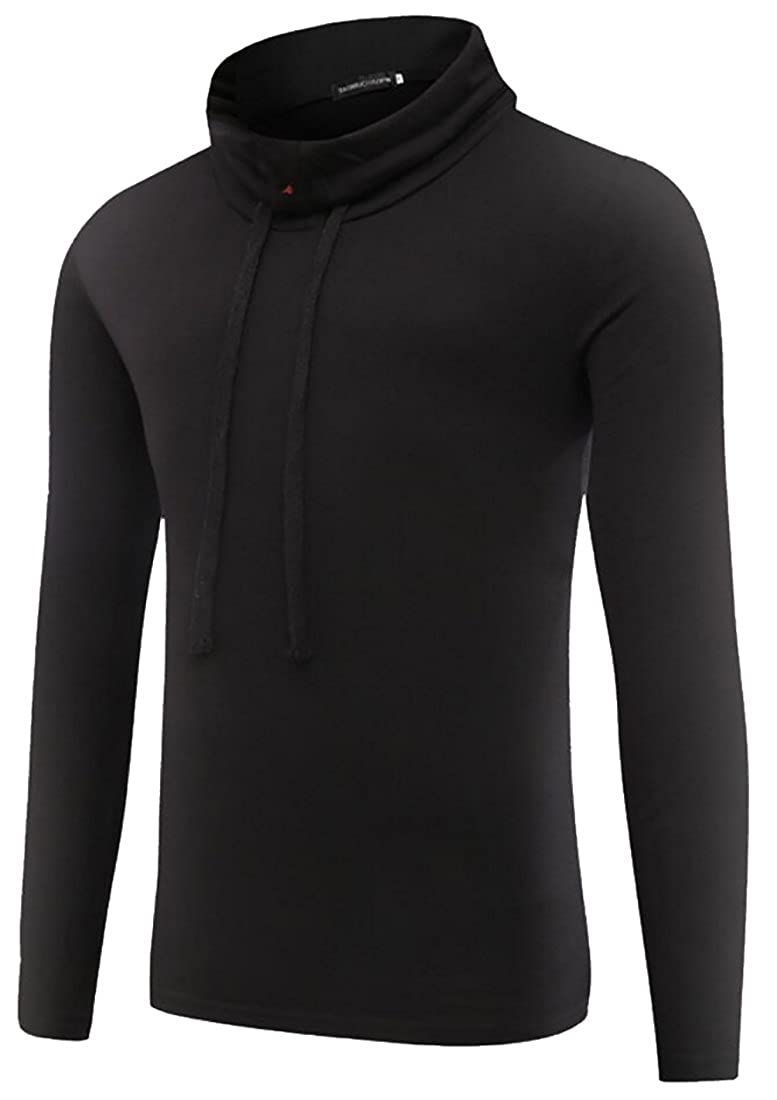 Gnao Mens Leisure Solid Color Stand Collar Long Sleeve Slim T-Shirt Tees
