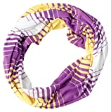 Tickled Pink Women's Striped Game Day T-Shirt Infintiy Scarf, Purple/Gold, One Size