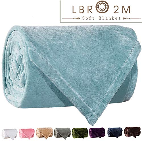 LBRO2M Fleece Bed Blanket Super Soft Warm Fuzzy Velvet Plush Throw Lightweight Cozy Couch Blankets Queen(90-Inch-by-90-Inch) Turquoise