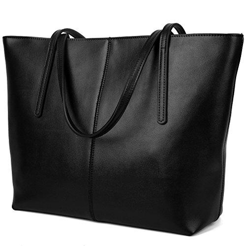 YALUXE Women's Large Capacity Leather Work Tote Zipper Closure Shoulder Bag Black by YALUXE