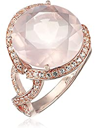 14k Rose Gold Plated Sterling Silver Rose Quartz and Created White Sapphire Ring
