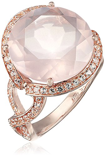 Rose Gold Rose Quartz Ring - 14k Rose Gold Plated Sterling Silver Genuine Rose Quartz And Created White Sapphire Ring, Size 8