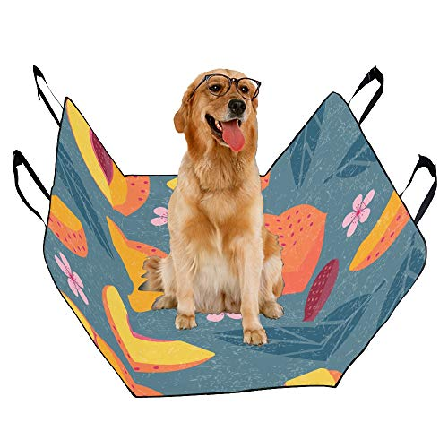 VNASKL Dog Seat Cover Custom Peaches Whole Sliced Peaches Printing Car Seat Covers for Dogs 100% Waterproof Nonslip Durable Soft Pet Car Seat Dog Car Hammock for Cars Trucks SUV
