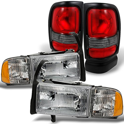 For 1994-2002 Dodge Ram Headlights w/ Corner Lights Pair Set Replacement + Red Clear Tail Lights Combo Sets ()