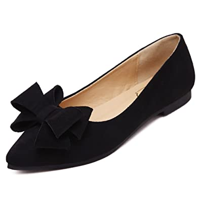 d4a0972b8d75 Meeshine Women s Comfortable Bow Point Toe Flat Pumps Slip On Shoes New  Black ...