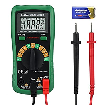 Digital Multimeter, Security 2000 Counts Auto-Ranging Multi Tester AC/DC Voltage Detector Portable Amp / Ohm / Volt Test Meter Data Hold Diode and Continuity Test Scanners with Backlight LCD Display