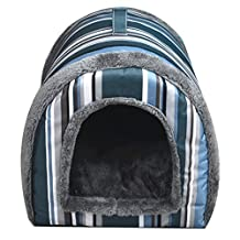 Dog Houses Pet Beds Cat Cave Bed 2 in 1 Pets Sofa With Mat (S:14.5*12.9*12.2 inch)