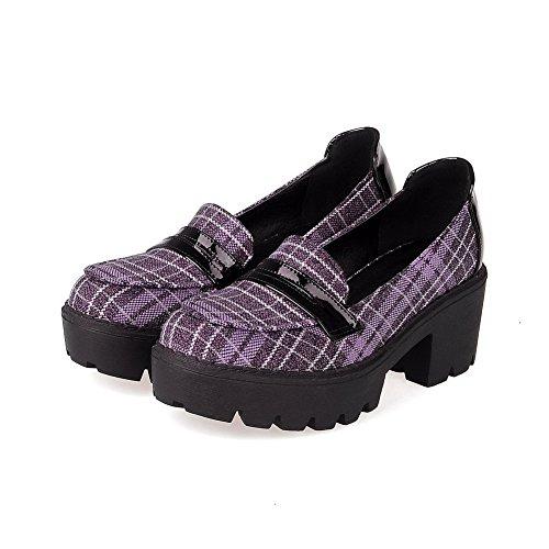AllhqFashion Damen Ziehen auf Blend-Materialien Gemischte Farbe Rund Zehe Pumps Schuhe Lila