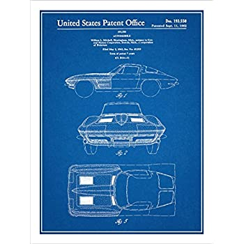 Amazon 1963 corvette stingray patent print art poster unframed 1963 corvette stingray patent print art poster unframed blueprint 18 malvernweather Gallery