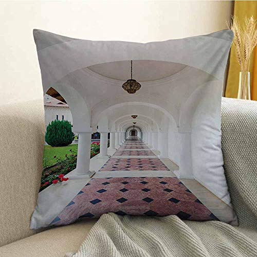 - Travel Printed Custom Pillowcase Dome Arched Colonnade Hallway at Sambata De Sus Monastery in Transylvania Romania Decorative Sofa Hug Pillowcase W16 x L16 Inch White Green