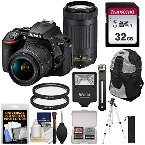 Nikon Camera Backpacks - Nikon D5600 Wi-Fi Digital SLR Camera with 18-55mm VR & 70-300mm DX AF-P Lenses with 32GB Card + Backpack + Flash + Tripod + Kit