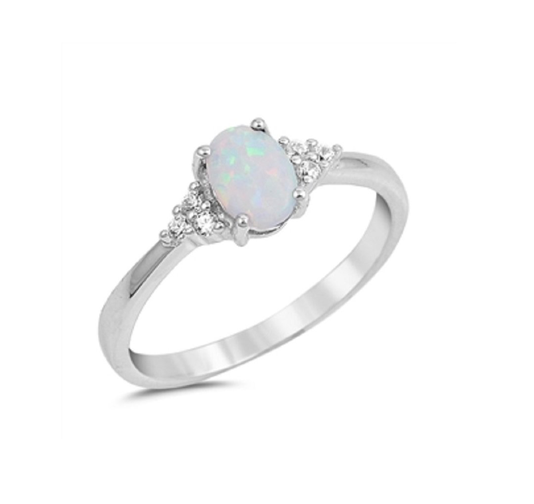 CloseoutWarehouse Oval White Simulated Opal Cubic Zirconia Ring Sterling Silver Size 10