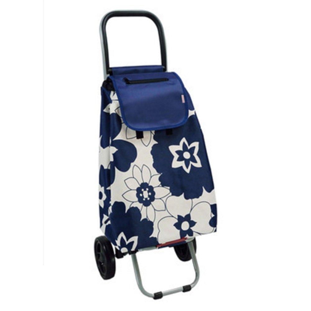 ハンドカート 折り畳み式食料雑貨の買い物カートトロリーの階段折り畳み式カート-33 * 31 * 93cm トロリー (色 : Blue flowers) B07F83RRQL Blue flowers Blue flowers
