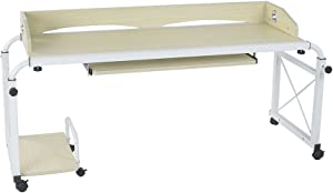 sogesfurniture Overbed Table with Wheels,Height & Length Adjustable Mobile Table 51inches Works as Laptop Cart Computer Table Hospitable Bed Table Nursing Table Drafting Table,Maple BHUS-203-2-140MP