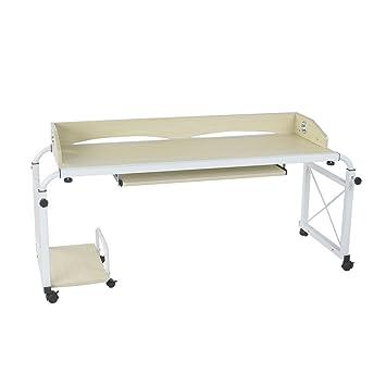 SogesFurniture Mesa de Ordenador Portatil con Ruedas Ajustable, 120cm Ordenador Portátil Mesa Escritorio para sofá Cama, Arce 203#2-MP-BH: Amazon.es: Hogar