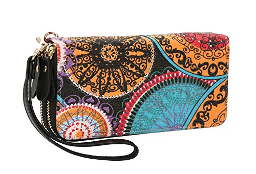Women Zipper Wallet Purse Canvas Phone Card Holder with Coin Pocket and Strap (multi-colored by LATH.PIN