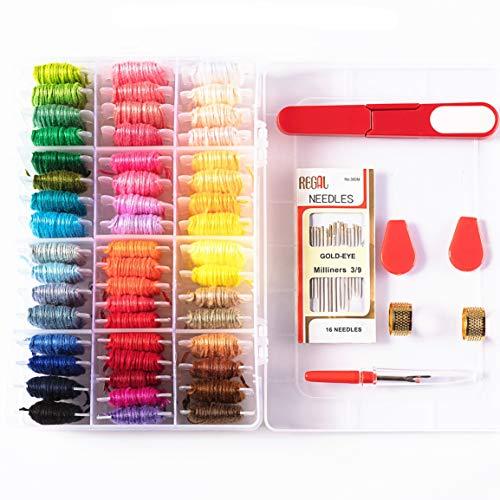 100%Cotton Embroidery Floss with Organizer Storage Box - Friendship Bracelets Floss Crafts Floss and Plastic Floss Bobbins Cross Stitch Kits by DaBuLiu