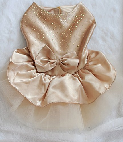 ONOR-Tech Lovely Cute Bling Bling Doggy Apparel Clothes Pet Puppy Dog Cat Bow Tutu Princess Dress Wedding Party Dress (champagne, (Doggy Clothes)