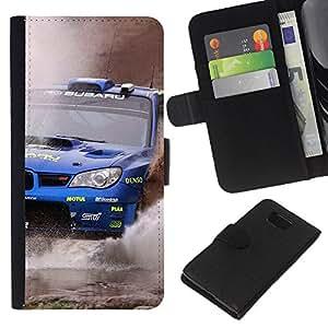 LECELL--Cuero de la tarjeta la carpeta del tirón Smartphone Slots Protección Holder For Samsung ALPHA G850 -- WRX STI --