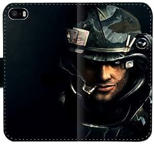 Calibre F5O3J Funda iPhone 5C caja de cuero funda protectora del teléfono 6QA837 Diseño funda del caso del tirón