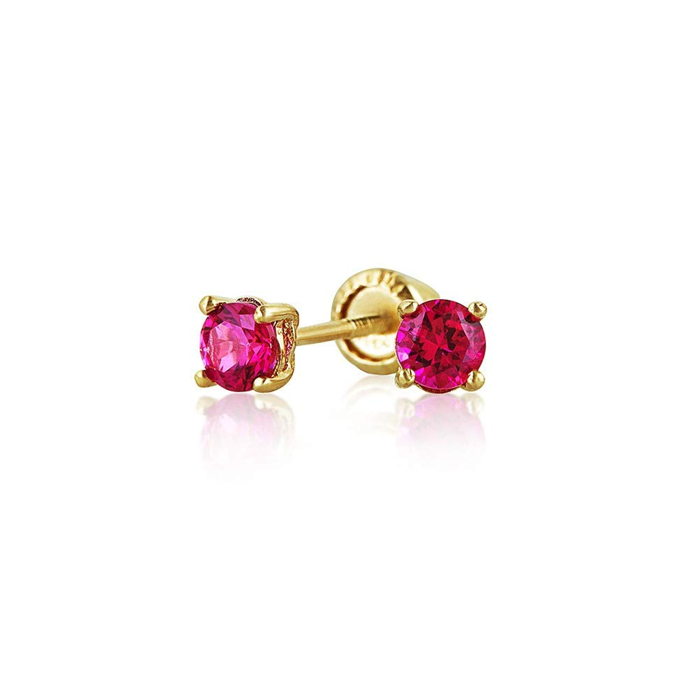 Choice of 3 14k Yellow Gold Cubic Zirconia July Birthstone Screw-back Earring Studs 4 or 5mm