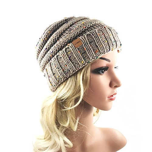 Women's Warm Chunky Thick Stretchy Knit Beanie Skull Cap Winter Knitting Warm Hat