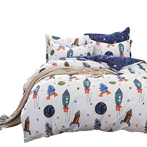 (Brandream Boys Galaxy Space Bedding Set Twin Size Kids Bedding Set 100% Cotton (Duvet Cover + Flat Sheet + Pillowcase))