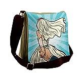 Lunarable Art Messenger Bag, Wedding Theme Bride and Groom, Unisex Cross-body